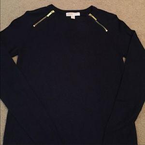NWOT Michael Kors Long Sleeve Black Top Gold Zip